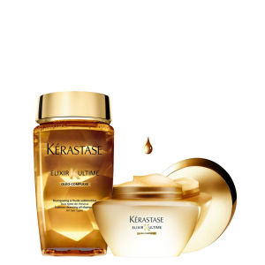 Kerastase Elixir Ultime Huile Lavante Bain (250ml) og Beautifying Masque (200 ml) Duo pakke