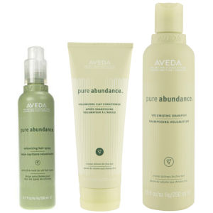 Aveda Pure Abundance Volumising Trio- Shampoo, Conditioner & Hair Spray -shampoo, hoitoaine ja hiuslakka
