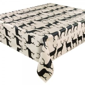 Anorak Kissing Stags Coated Cotton Tablecloth (2m) - Black/Cream