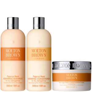 Molton Brown Papyrus Reed Repairing Shampoo, Conditioner 300ml & Deep Conditioning Mask 200ml (Bundle)