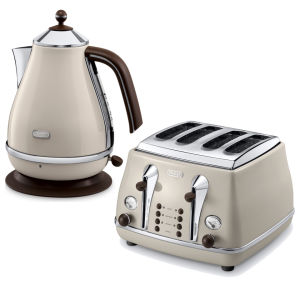 De'Longhi Icona Vintage 4 Slice Toaster and Kettle Bundle - Beige