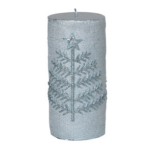 Pale Blue Candle with Tree