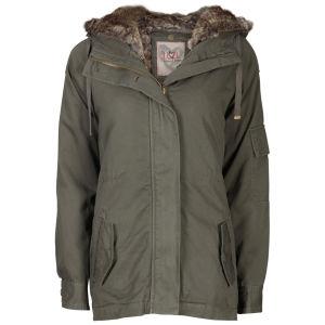 IL2L Women's Fur Trimmed Parka Jacket - Khaki