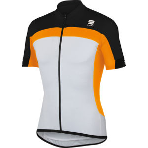Sportful Pista Long Zip Jersey - White/Orange/Black