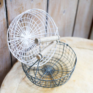 Nkuku Alama Round Basket - Distressed Grey / Cream - 13 x 18cm