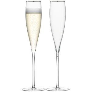 LSA Savoy Champagne Flute Platinum Rim 200ml (Set of 2)