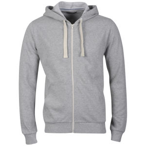 Brave Soul Men's Adrian  Hooded Zip Through - Grey Marl