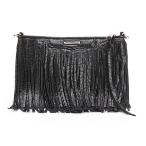 Rebecca Minkoff Finn Fringe Leather Clutch Bag - Black