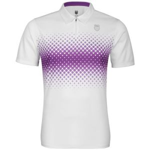 K-Swiss Men's Fading Stripe Polo Shirt - White/Purple Magic
