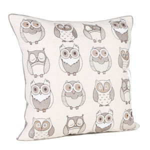Malini Mini Owl Embroidery On Faux Linen Cushion