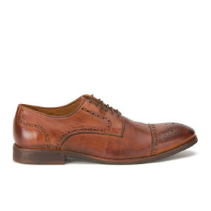 H Shoes by Hudson Men's Davern Drum Dye Leather Wing Tip Brogues - Tan
