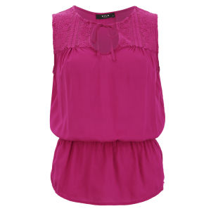 VILA Women's Mesk Long Top - Very Berry