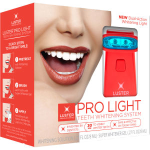 Luster Pro Light Teeth Whitening System Whitening Solution/Gel -hampaidenvalkaisusetti, Dual Action Light (10ml)