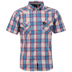 Benzini Men's Short Sleeved Check Shirt - Blue