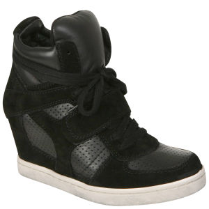 Ash Women's Cool Wax Wedged Hi-Top Trainer - Black