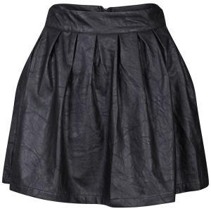 Influence Women's PU Leather Look Skater Skirt - Black