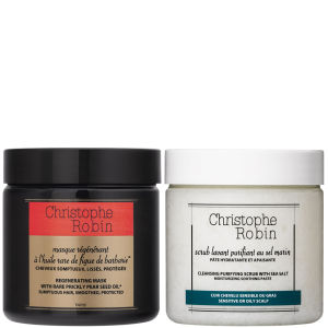 Christophe Robin Cleansing Purifying Sea Salt Scrub (250 ml) og Regenerating Mask with Rare Prickly Pear Seed Oil (250 ml)
