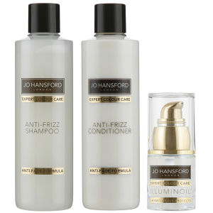 Champú, acondicionador antiencrespamiento (250ml) y aceite Illuminoil mini (15ml) Jo Hansford Expert Colour Care