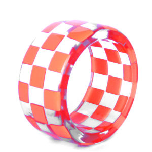 Anna Lou of London Limited Edition Exclusive Checkerboard Bangle - Neon Orange