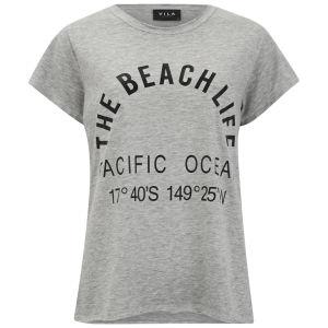 VILA Women's Beach Life T-Shirt - Grey