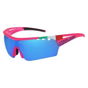 Salice 006 Lampre Merida Sunglasses - Flo Fuchsia ITA/Mirror Blue