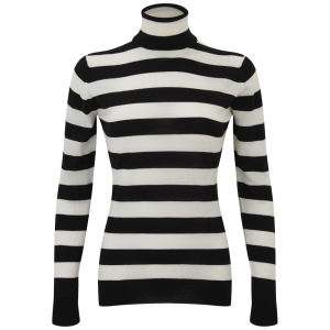 John Smedley Women's Lilibet Merino Extra Fine Roll Neck Stripe Jumper - Black/White