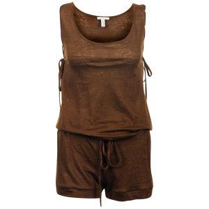 Chloe Women's Linen Playsuit - Brown