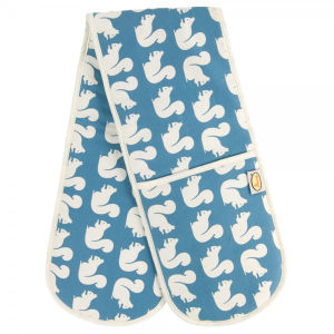 Anorak Kissing Squirrels Double Oven Glove - Teal/Blue/Cream