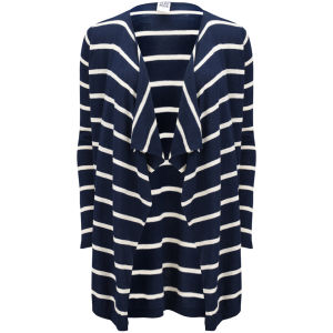 Vero Moda Women's Everly Striped Waterfall Cardigan - Black Iris