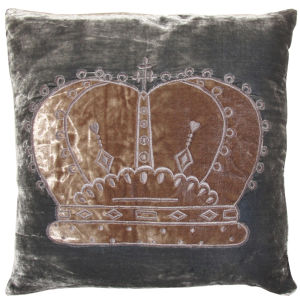 Torba Velvet Crown Cushion - Grey