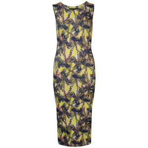 Damned Delux Women's Neon Feather Print Midi Dress - Yellow