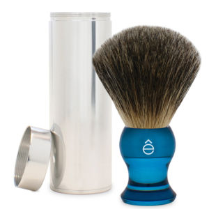 e-Shave Travel Fin Badger Hair Shaving Brush med etui (blå)