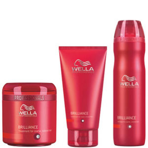 Wella Professionals Brilliance 三件套(适合细发至一般染过色的 Hair)- Shampoo, Conditioner & Treatment