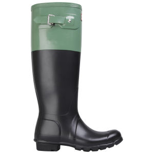Hunter Women's Original Colour Block Wellies  - Black/Moss Green