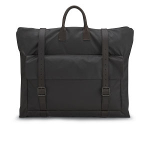 Knutsford Men's Leather Foldover Weekend Bag - Dark Brown