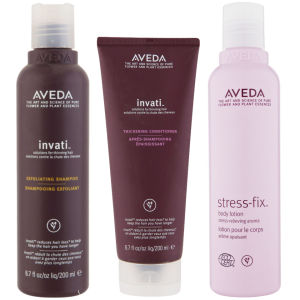 Aveda Invati Shampoo and Conditioner 200 ml with Stress Fix Body Lotion