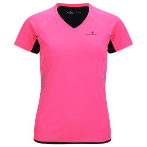 RonHill Women's Vizion Shorts - Sleeve T-Shirt - Fluorescent Pink/Black