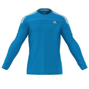 adidas Men's Response Long Sleeve Running Tee Shirt - Solar Blue/White