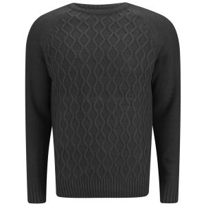Soul Star Men's Athens Cable Knit Jumper - Charcoal Marl