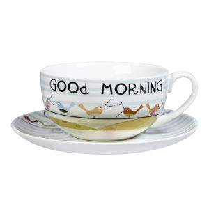 The Good Life Good Morning Cappuccino Cup and Saucer