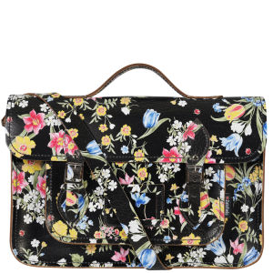 Zatchels 14.5 Inch Cracked Large Floral Leather Satchel with Handle - Black
