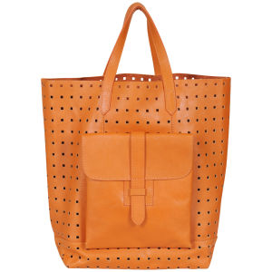French Connection Raw Cut Perforated Leather Tote - Veg Tan