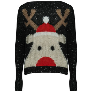 Love Knitwear Women's Sparkly Rudolph Christmas Jumper - Multi