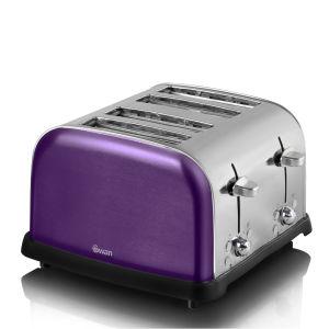Swan Metallic 4 Slice Toaster - Purple
