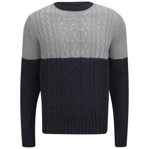 Soul Star Men's Pepper Sync Colour Block Knit Jumper - Navy