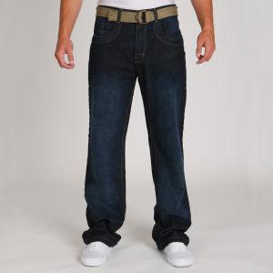 Galvanize Men's Rib Belted Jean - Dark Indigo