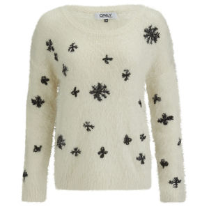 ONLY Women's Crystal Snowflake Christmas Jumper - Whisper White