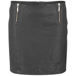Gestuz Women's Parcy Zip Leather Mini Skirt - Black