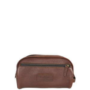 Barbour Men's Leather Wash Bag - Dark Brown