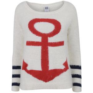 Vero Moda Women's Anchor Stripe Jumper - Snow White